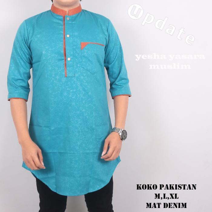 Fashion Muslim / Atasan / Baju Koko Pakiastan Original / KOKO PAKISTAN LENGAN TANGGUNG PRIA BUSANA