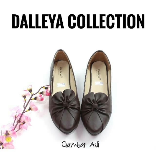 KUNCIR - real pict sepatu Dalleya sepatu teplek wanita flat shoes kulit sintetis balet