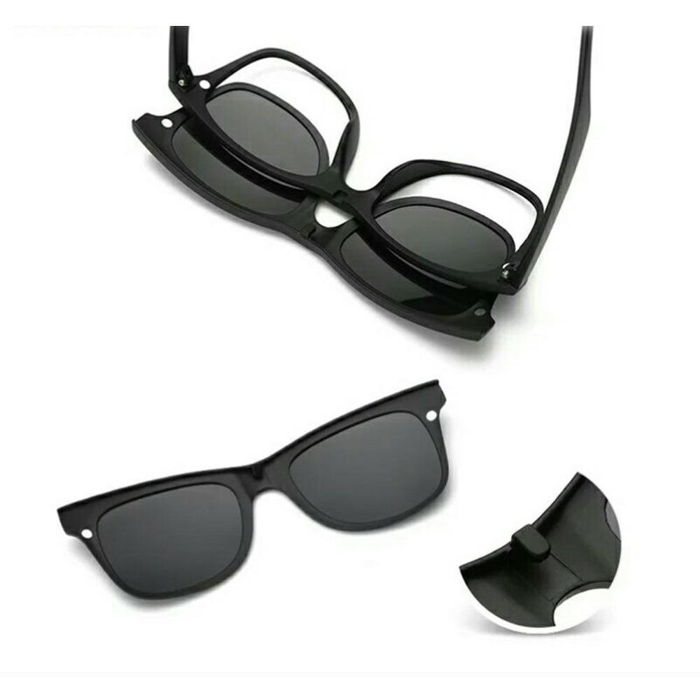 Detail Gambar Frame Kacamata Minus Clip On 5 Lensa Anti Radiasi UV -  Kacamata Polarized Hitam 83a9f3ad9c