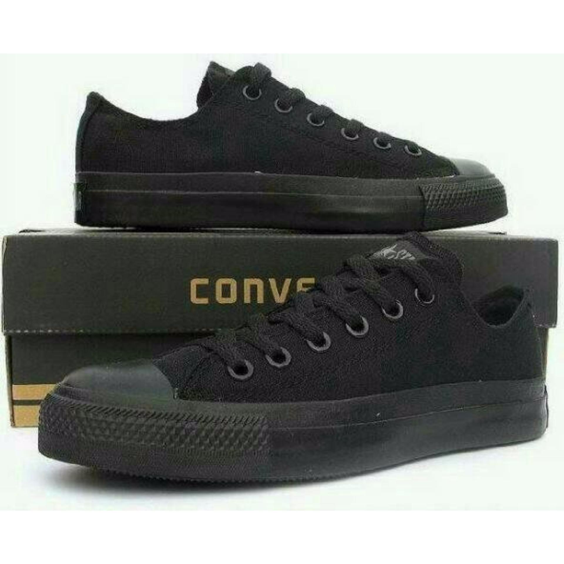 Sepatu Casual Harian Sekolah Kuliah Converse Allstar CT Mono Full Black  Hitam Low Pria Wanita Couple 84bf82f792