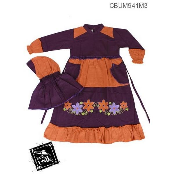 Mila Style - Baju Batik Gamis Anak Dhea Motif Bunga No 11,12 - Multicolor