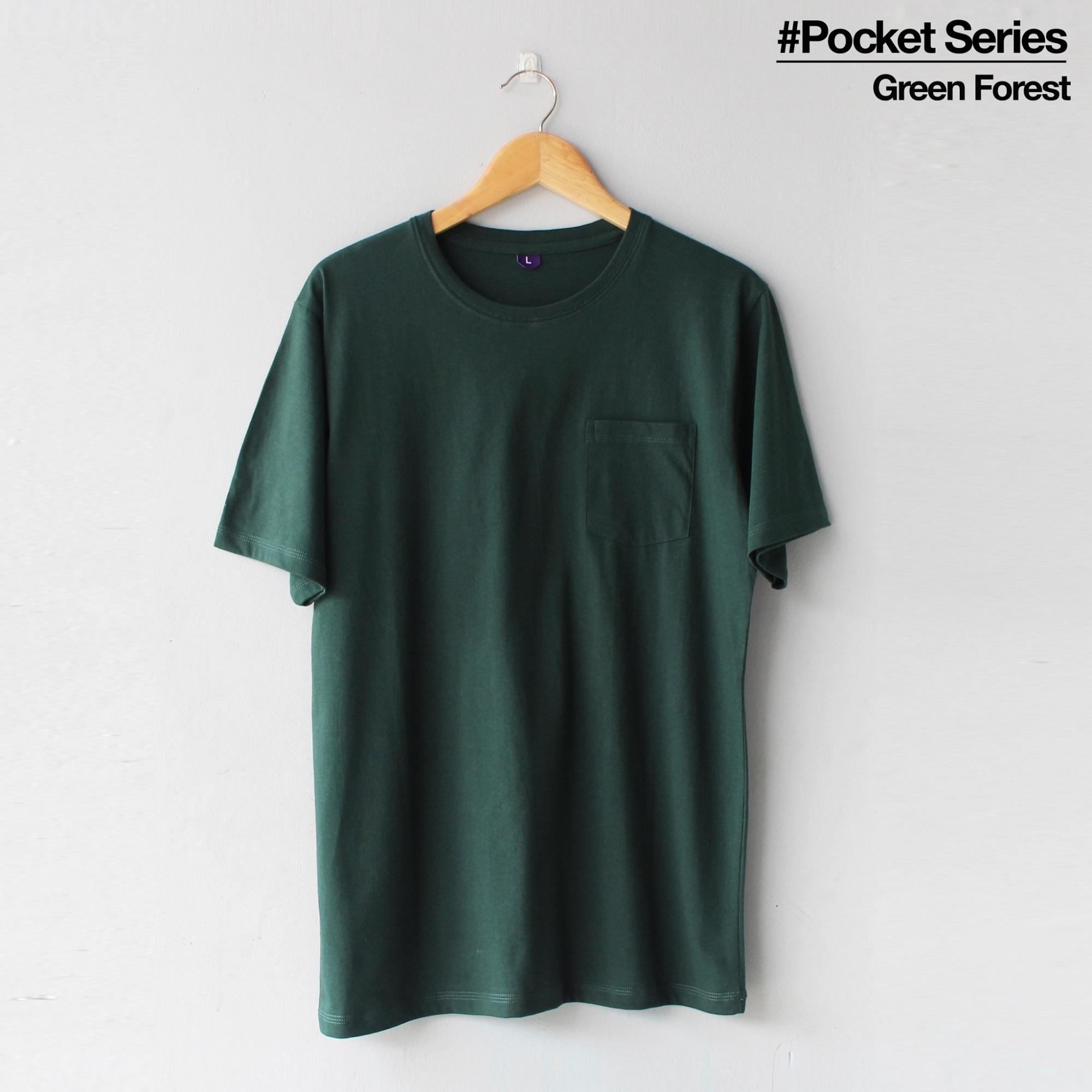 Baju Kaos Polos Harga Termurah Pocket Baju Lengan Pendek Warna Green Forest Untuk Cewek Dan Cowok