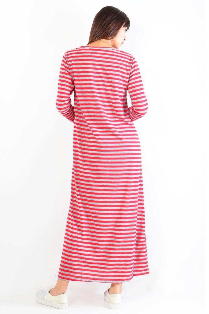 Jfashion Long Dress Gamis Maxi Tangan Panjang corak salur - Maxi salur