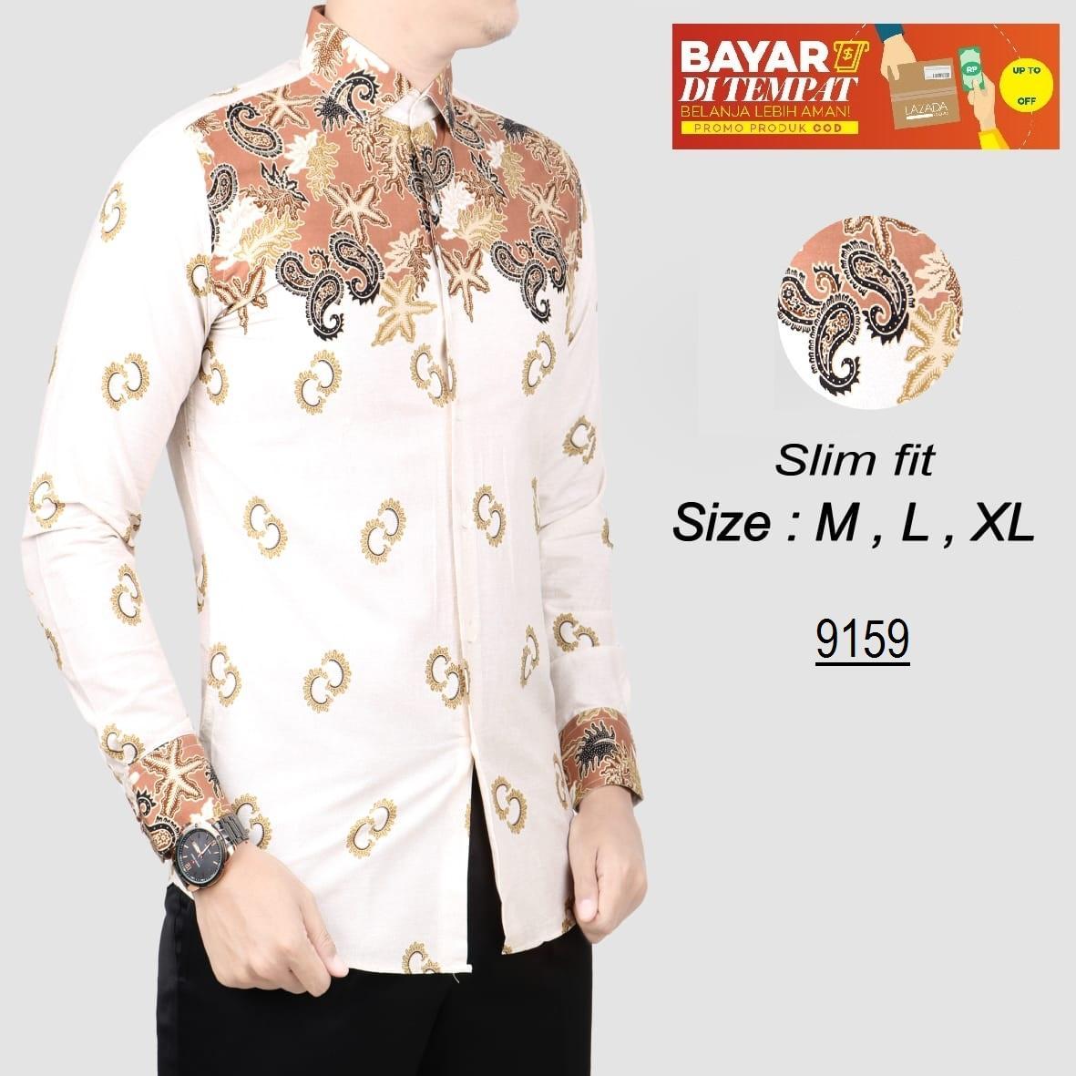 her+man batik pria modern kemeja batik pria slim fit f1g06