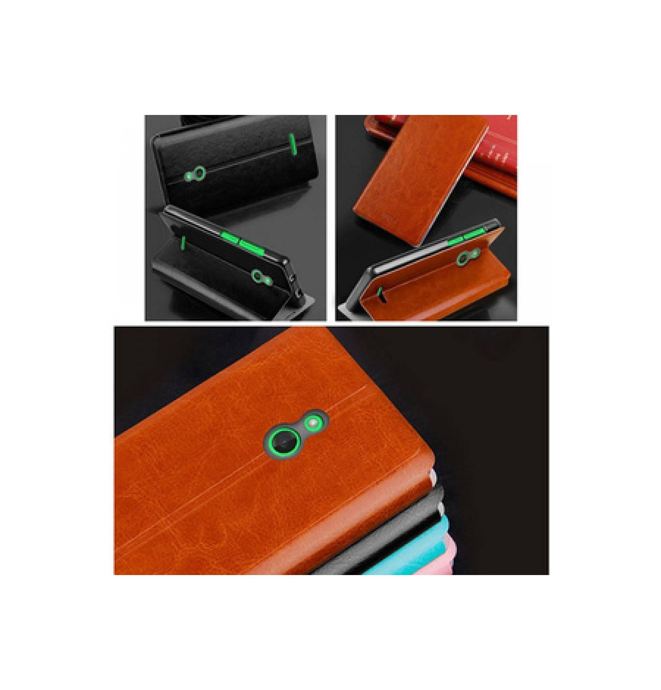 NOKIA X MOFI armor bumper hard case Leather dompet sarung Flip Case