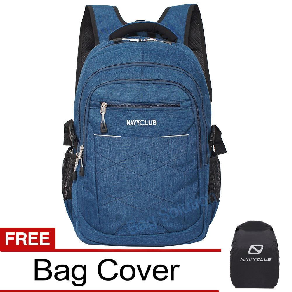 Navy Club Tas Ransel Laptop Kasual Tas Pria Tas Wanita Eici Backpack Upto 15 Inch Biru Bonus Bag Cover Navy Club Diskon 40
