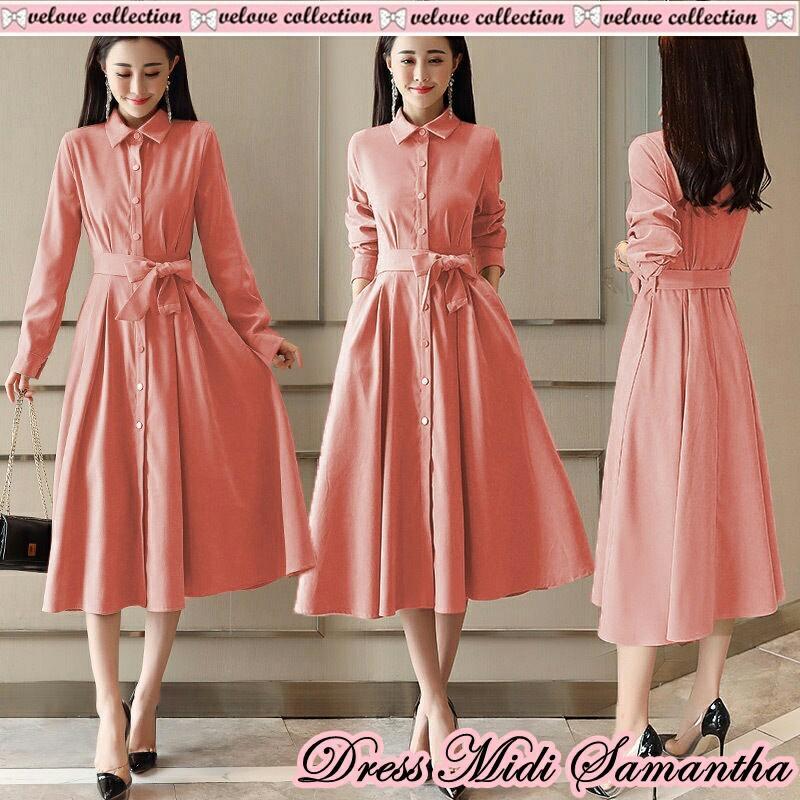 FJCO V Dress midi samantha / Dress wanita / Fashion wanita