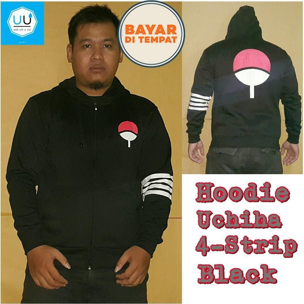 Fitur Jaket Rompi Anime Hoodie Zipper One Piece Style Trafagal Law Direction Black 4 Strip Naruto Clan Uchiha Trafalgar