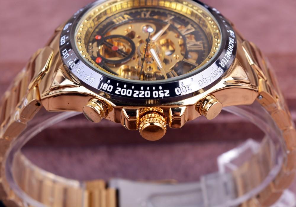 ... WINNER Merek Mekanik Uhr Aviator Militer Skala Digital Dial Chronograph Desain Pria Clock Watch Leather Otomatis