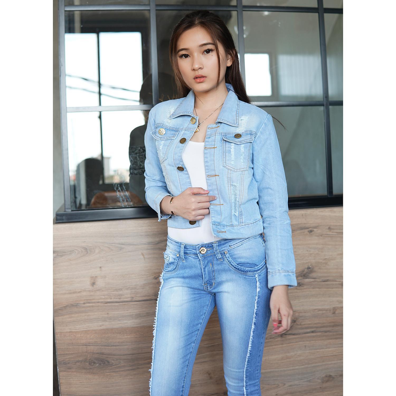 Fitur Rumah Jeans Jaket Wanita Cropped Ripped Bahan Cewe Detail Gambar Tebal Terbaru