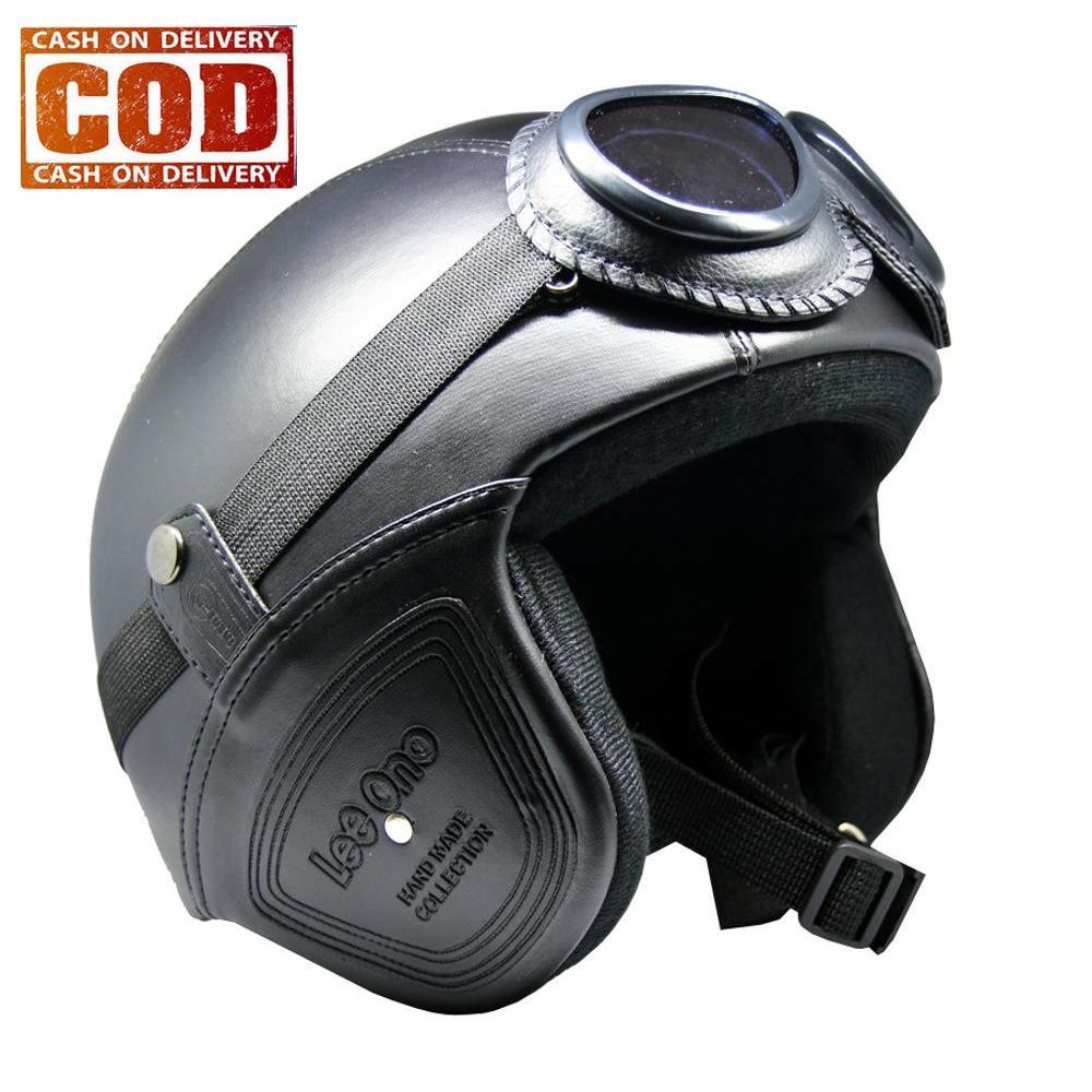 Jual Helm Retro Kulit Unik Klasik Kaca Mata Helm Retro Kulit Clasic Vespa Ori