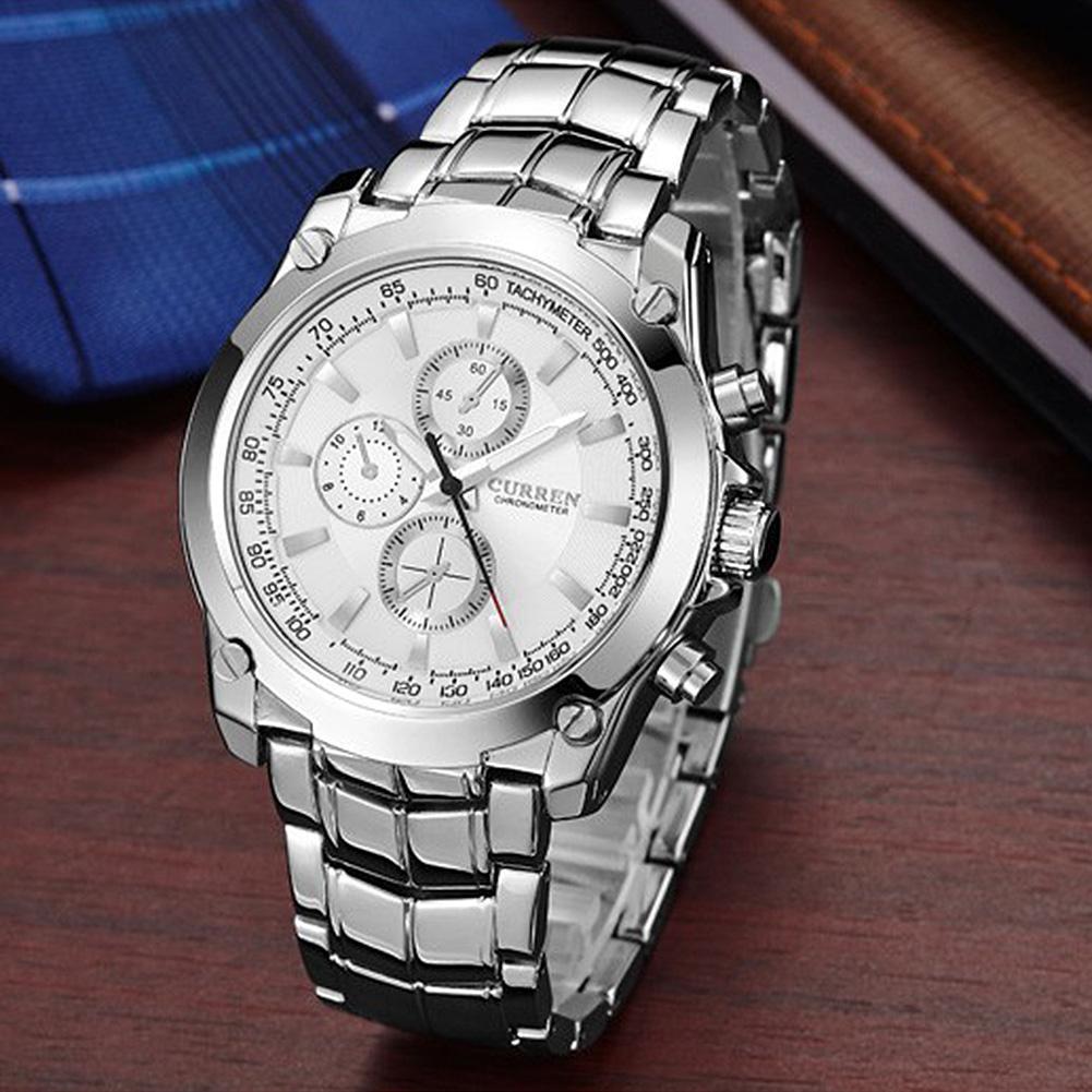 Fitur Curren Men Business Casual Alloy Teen Analog Waterproof Quartz Yazole 296 Jam Tangan Pria Original Watches Black Dial Watch White 3