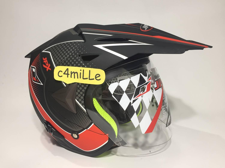 Features Helm Jpx Supermoto Advance Racing Black Doff Red Double Cantik Detail Gambar Visor Half Face Trail Terbaru