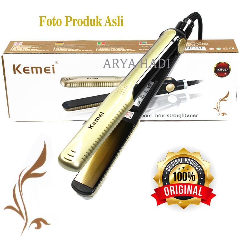 Ulasan Lengkap Tentang Catokan Rambut Kemei Km 327 Profesional Hair Straightener Temperatur Control Gold