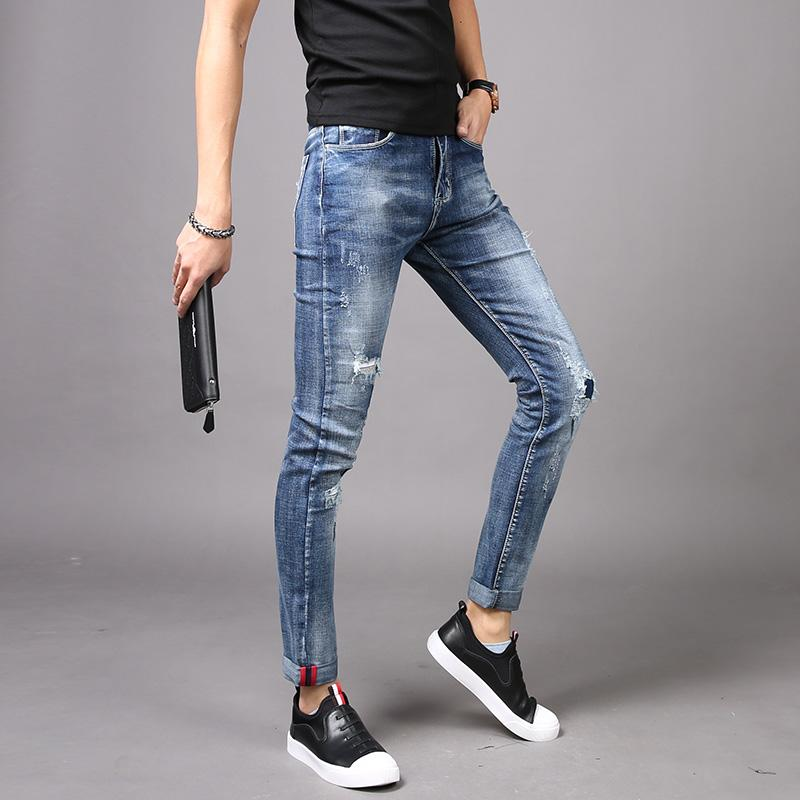 Korea Modis Gaya Warna Muda Pria Perpustakaan Koboi Celana Cargo Celana Jeans Sobek (Putih Biru)