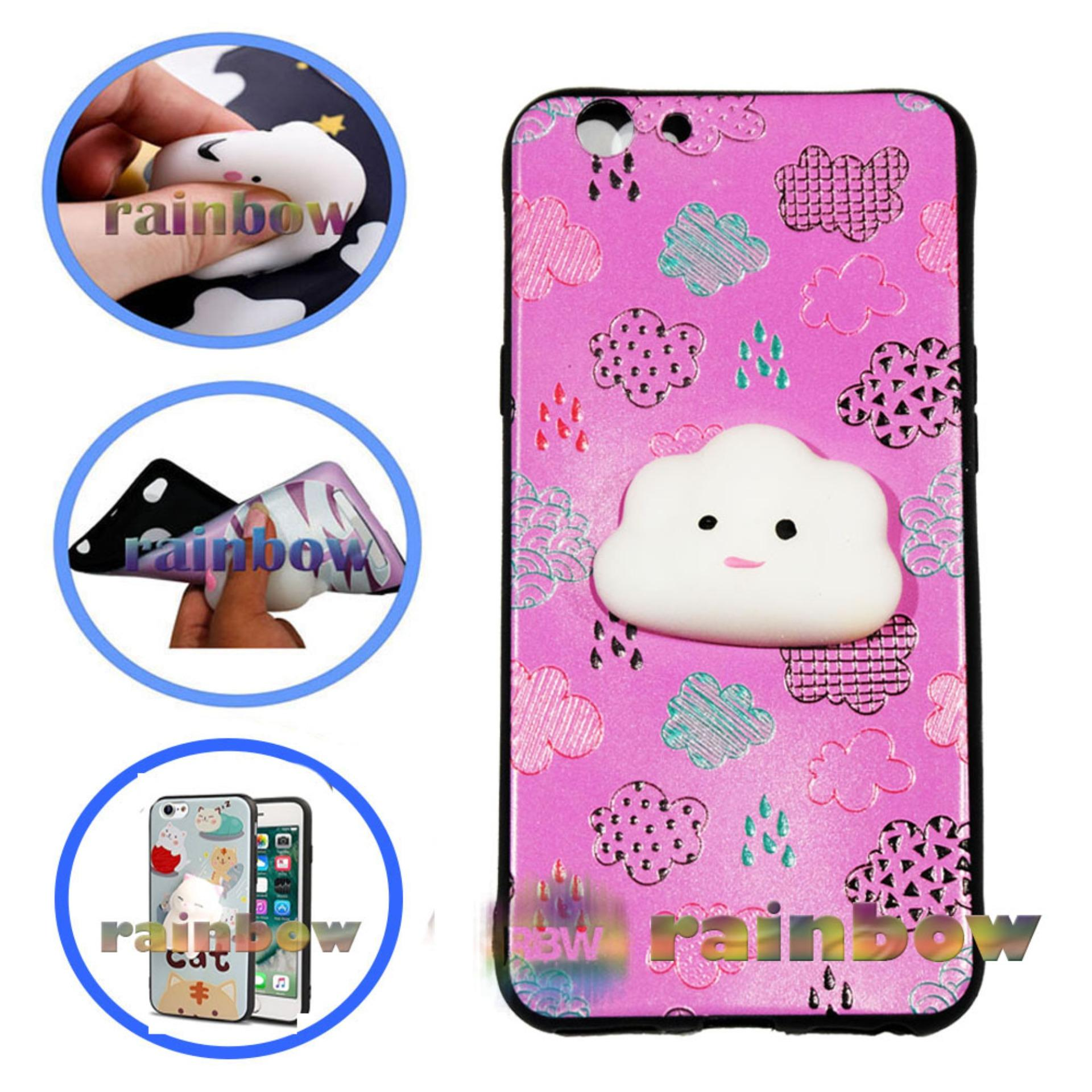 Rainbow SQUISHY Case Oppo F1s Selfie Expert A59 Squishy Cloud Pinky / Custom Case Squeeze Oppo F1S A59 / Case Silikon 3D Squishy Oppo A59 / Silicone 4D Boneka / Case Unik / Casing Oppo - Awan