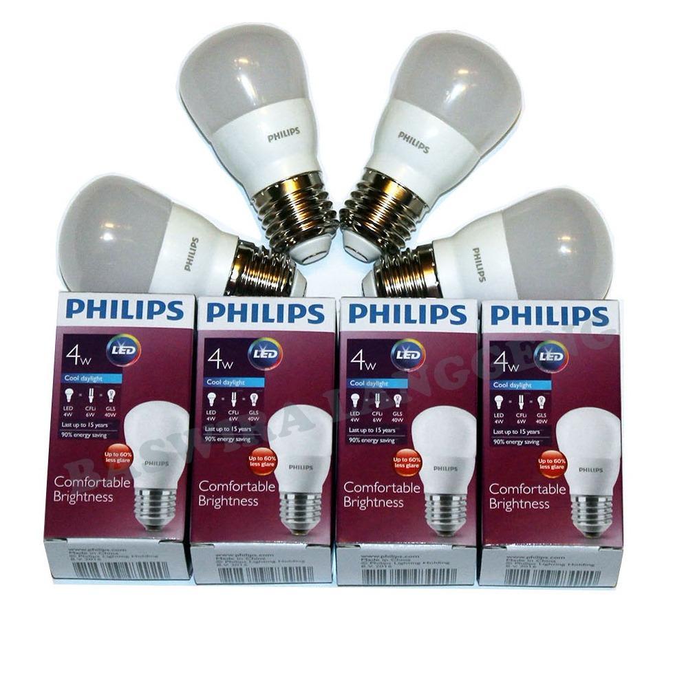 PHILIPS Lampu Led Bulb 4 Watt 4 W 4Wat 4W Putih Paket 4 Pcs