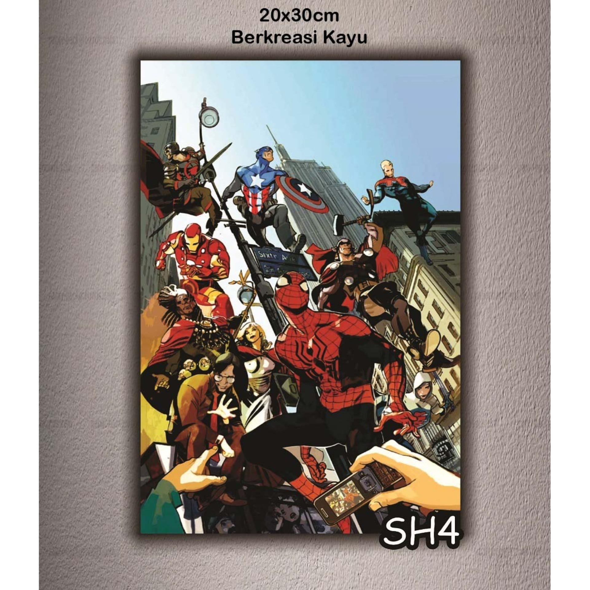Vasty Hiasan Dinding Kayu Wall Decor Poster Super Hero Kode VSH-04