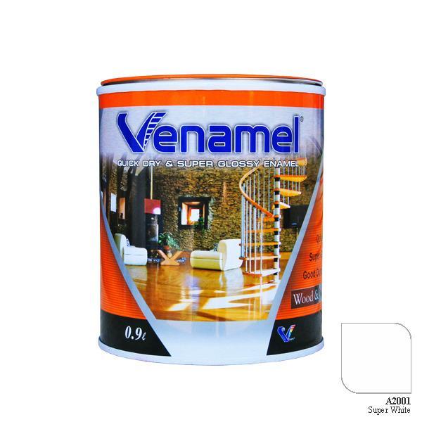 VENAMEL, CAT BESI KAYU ENAMEL / GLOSSY CEPAT KERING, SUPER WHITE, 0.9L