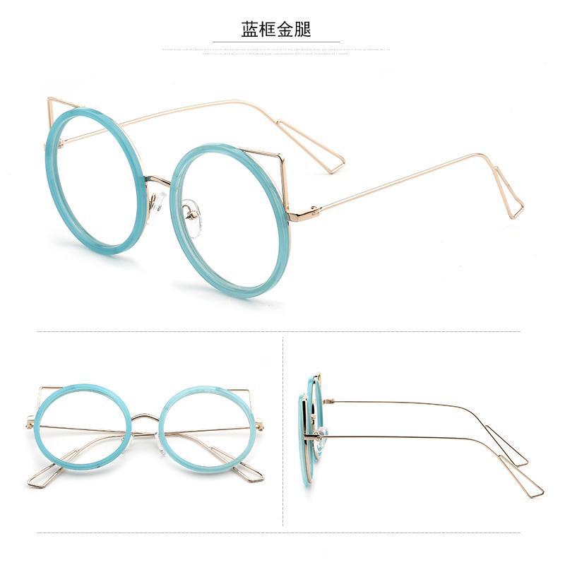 Kacamata Gaya Korea pasang Cahaya Bingkai Kacamata Retro Logam Bundar gaya  gadis Warna Emas bingkai kacamata 27225d8988