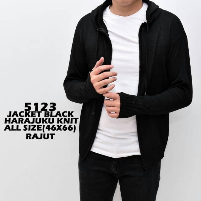 5123 Jaket Sweater Harajuku Knit Tajut Cowok Cewek Unisex Black Hitam Polos Allsize Distro Murah