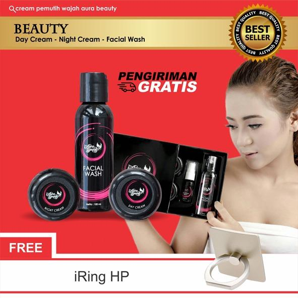 Spesifikasi Aura Beauty Package Non Serum Cream Pemutih Pencerah Wajah 100 Original Yg Baik