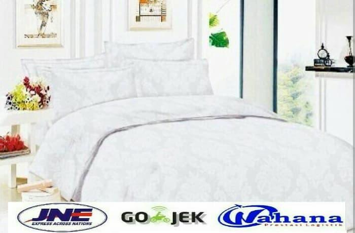 BED COVER SET Polos Warna Putih / Sprei Hotel Tinggi 30cm EXCLUSIVE