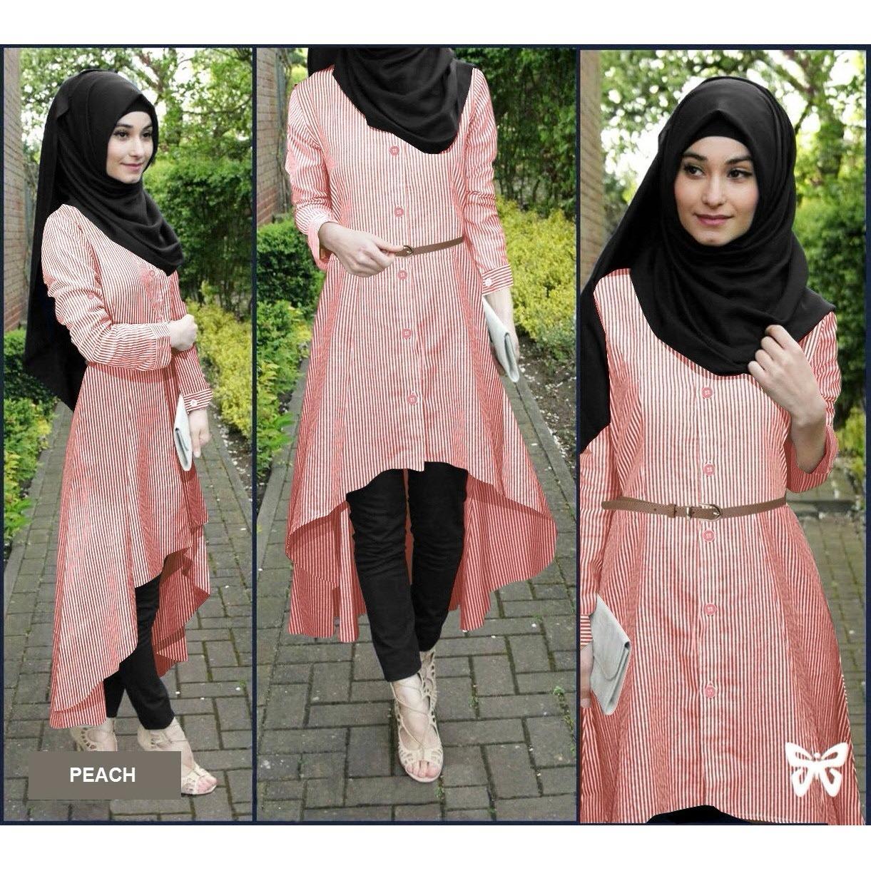 Jual Flavia Store Baju Muslim Wanita Set 4 In 1 Salur Fs0688 Peach Setelan Muslimah Stelan Gamis Hijab Atasan Blouse Terusan Kemeja Tunik Lengan Panjang Garis Bawahan Celana Srsafirasalur Murah