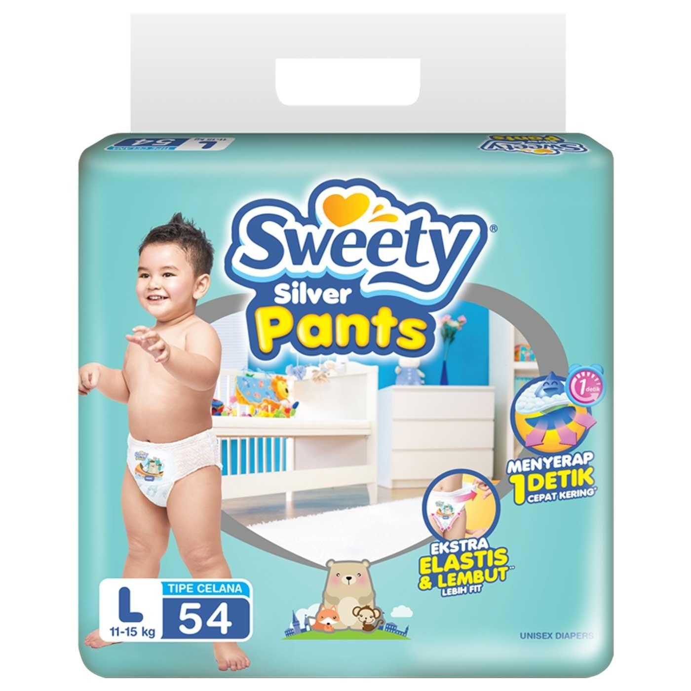 Sweety Diapers Silver Pants L 54 Asli