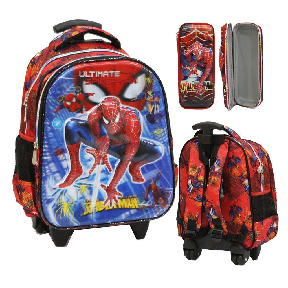 Harga Onlan Spiderman Super Hero 6D Timbul Tas Trolley Anak Sekolah Tk Atau Play Group Import Dan Kotak Pensil Timbul Red Baru