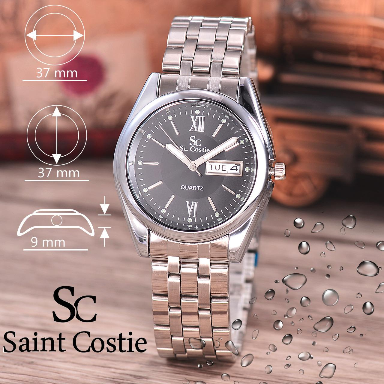 Saint Costie Original Brand Jam Tangan Pria Body Silver Black Dial Stainless Stell Band Sc Rt 5236B G Wb Th Saint Costie Diskon