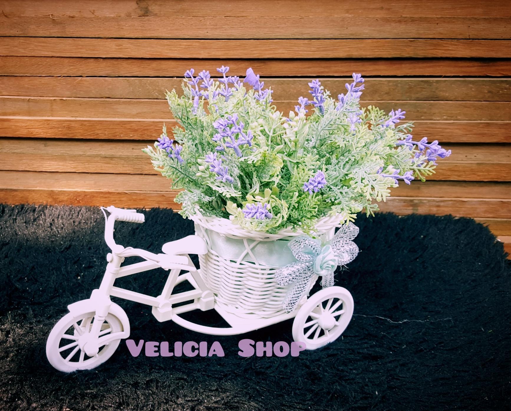 Bunga Pajangan - Bunga Hias Plastik - Bunga Lavender -Tanaman artifisial Pot Sepeda Medium FFL888 - 3