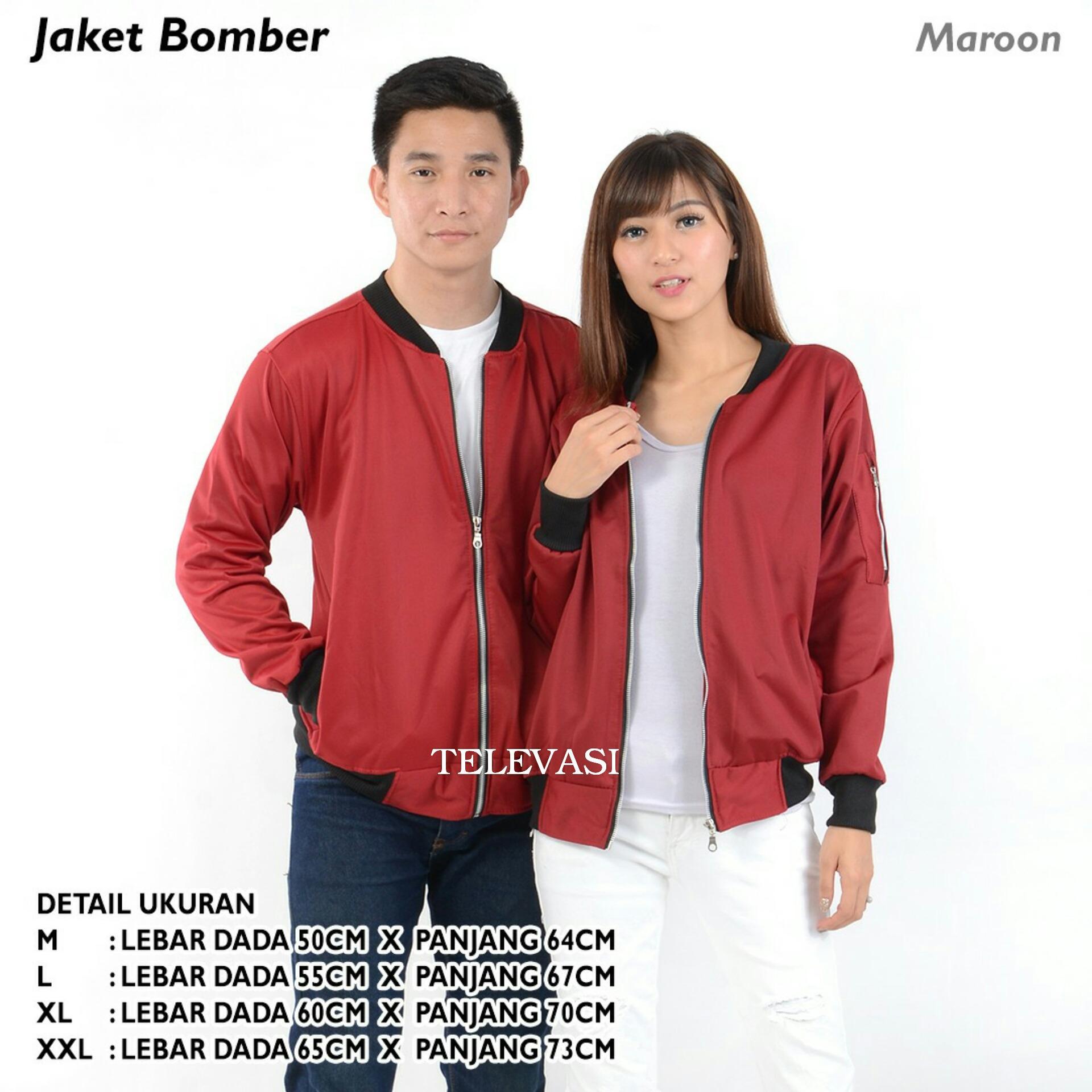 Kehebatan Jaket Bomber Populer Plus Emblem Maroon Size Xl Dan Harga Wanita Televasi M Xxl Pria