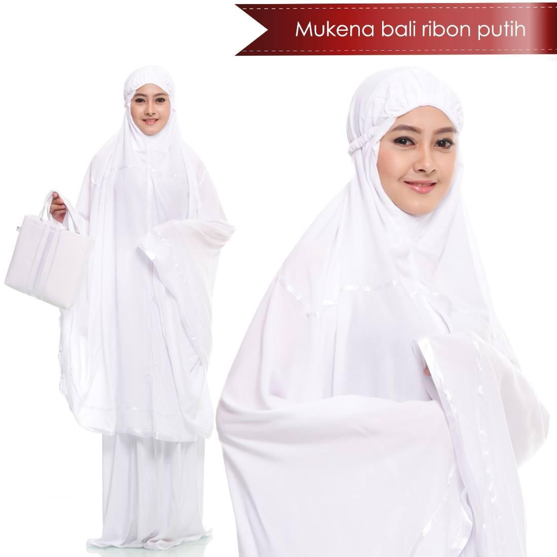Mukena Bali Ribon Polos Putih