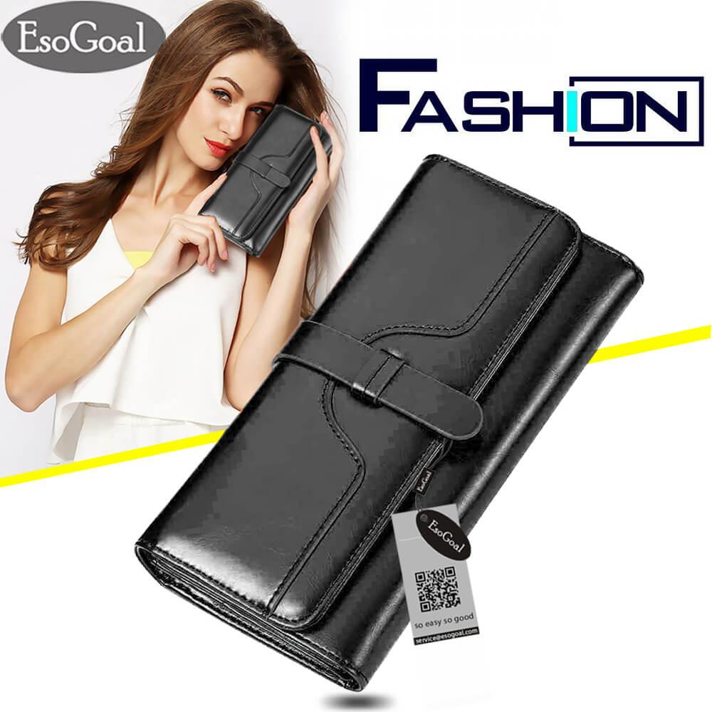 Esogoal Women Large Capacity Leather Purse Clutch Wallet Tri Fold Checkbook With Phone Pocket Terbaru