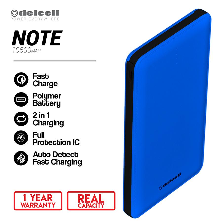 Delcell 10500mAh Powerbank NOTE Real Capacity Slim Powerbank Polymer Battery Build in Cable Fast Charging Garansi