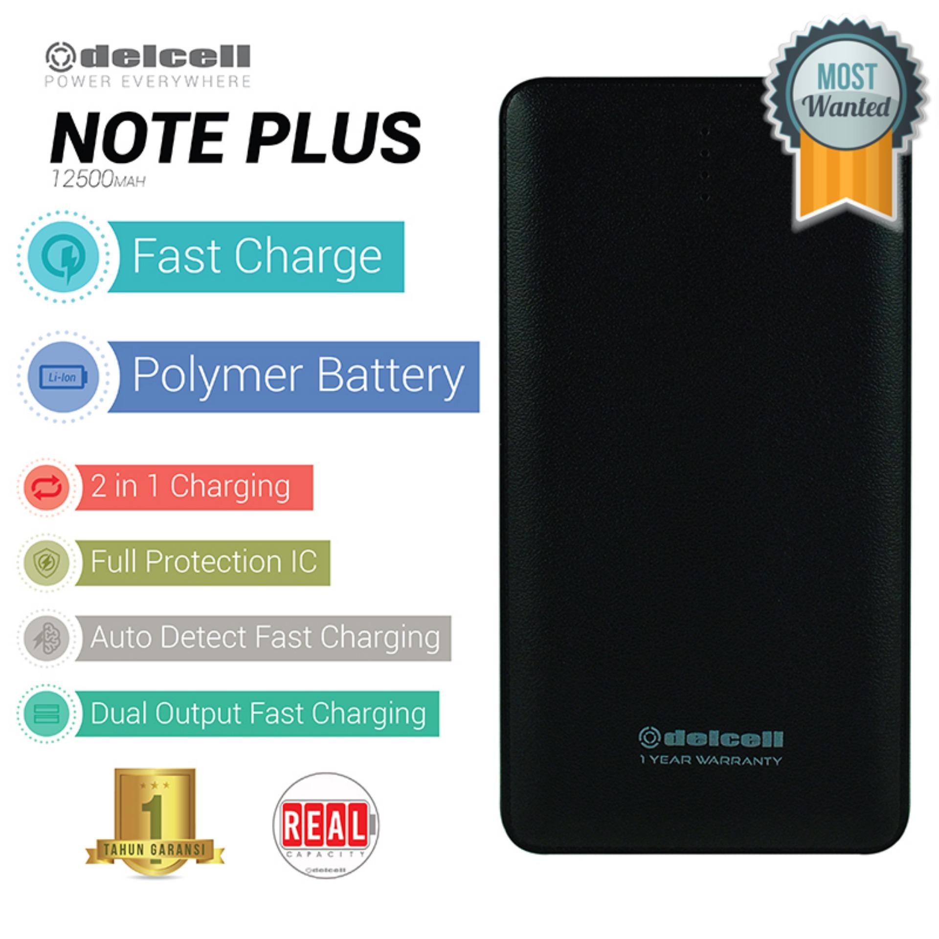 Delcell NOTE PLUS Powerbank Polymer Battery Real Capacity 12500mAh Fast Charging - Hitam