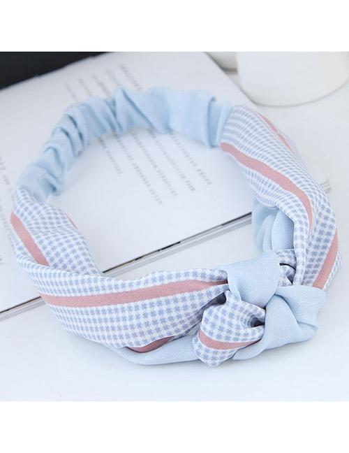 LRC Bando Sweet Grid Pattern Decorated Wide Hair Band