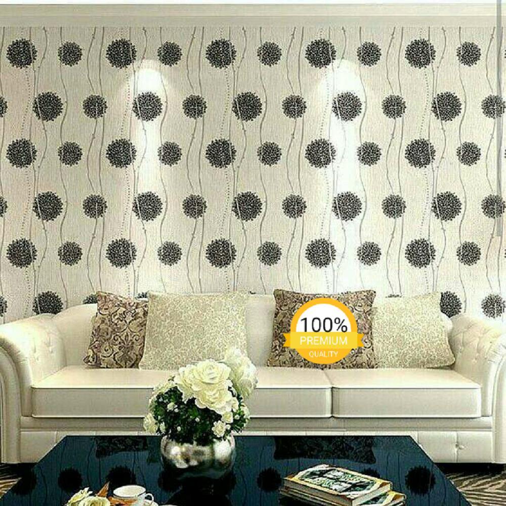 ... Grosir murah wallpaper sticker dinding kamar ruang indah bagus cantik elegan putih garis silver bunga hitam ...
