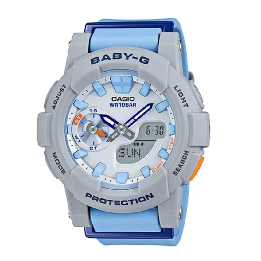 Jam Tangan Wanita Casio BabyG BGA-185 grey list blue ori bm