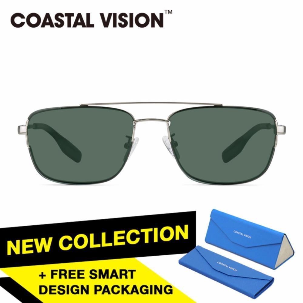 Beli Coastal Vision Kacamata Polarized Pria Silver Pilot Proteksi Uv 400 Lensa Abu Abu Cvs6411Sv Online