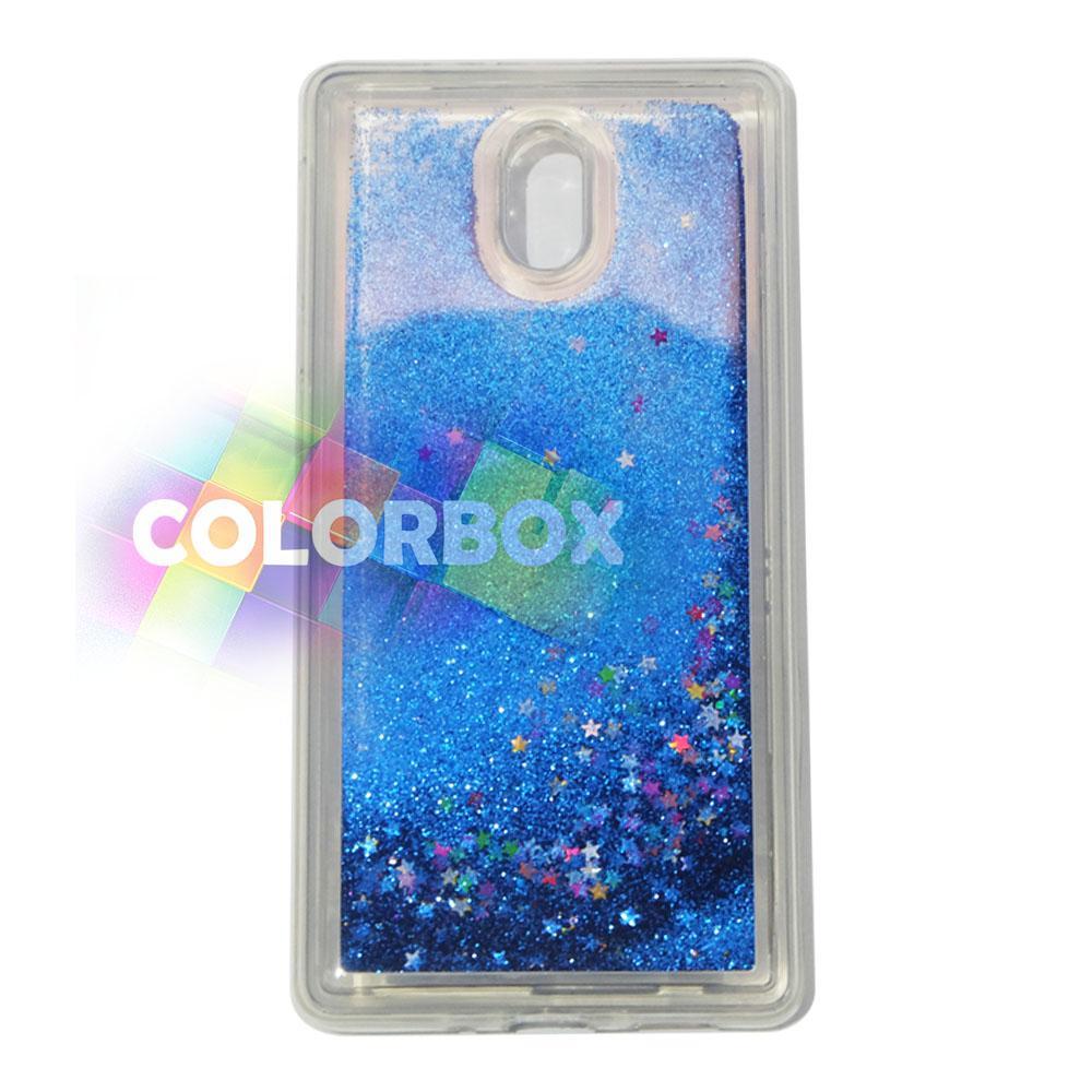 MR softshell Water Glamour Nokia 3 / Soft Case Glitter Nokia 3 / jelly Casing Nokia 3 / Silikon Case Hp / Case Water Glitter - Biru