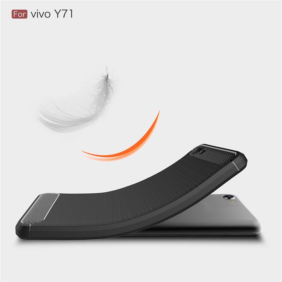 Caselova Premium Quality Carbon Shockproof Hybrid Case for Vivo Y71 - Black + Gratis Full Cover ...