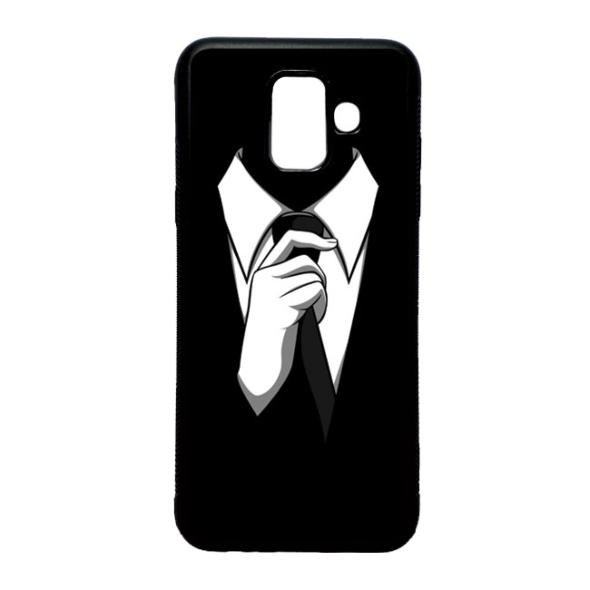 HEAVENCASE Case Casing Samsung Galaxy A6 Case Softcase Hitam Motif Cowok Tuxedo