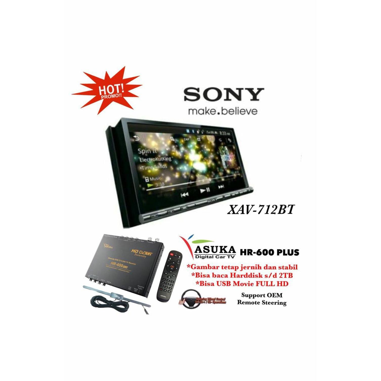 PAKET PROMO Sony XAV-712BT Head Unit Double din Tape Mobil XAV 712 BT & ASUKA HR-600 TV Tuner Digital