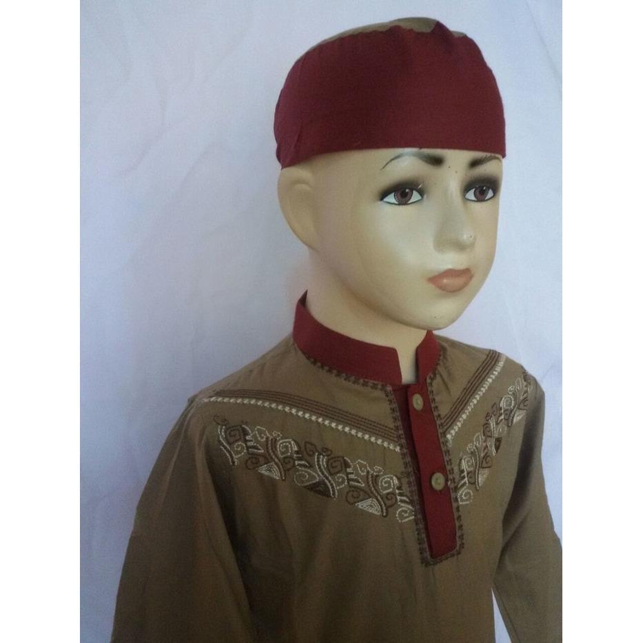 Setelan Baju Koko Anak Lengan Panjang Coklat Merah Al Muttaqin SAK084L/ baju koko anak laki murah / baju koko anak laki model terbaru / koko setelan