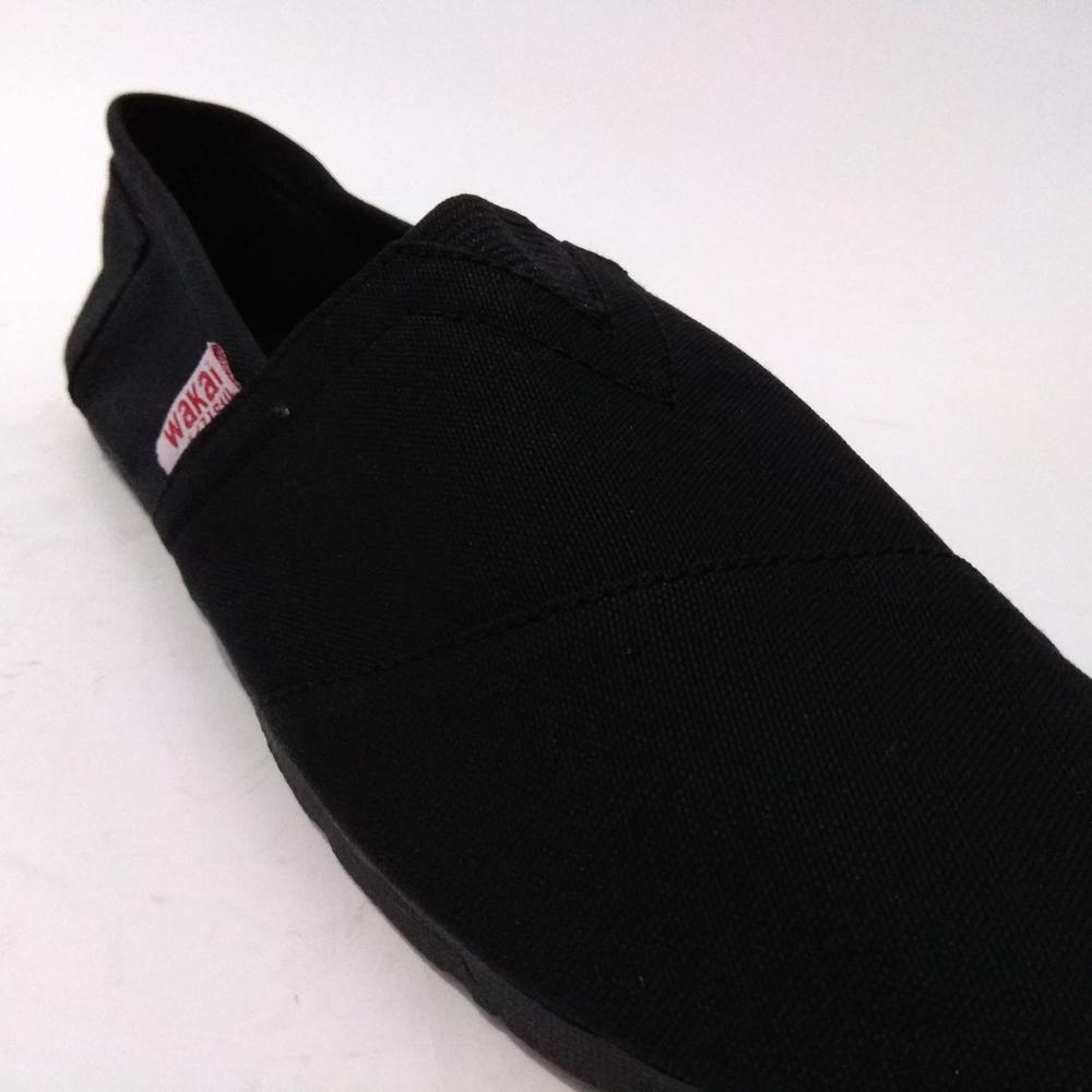 Review Just Cloth Sepatu Wakai Polos Slip On Pria Wanita Hashigo Fashion 08 Hitam 5