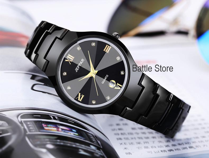 jeppar 261 jam tangan wanita analog fashion casual women strap stainless steel wrist quartz watch