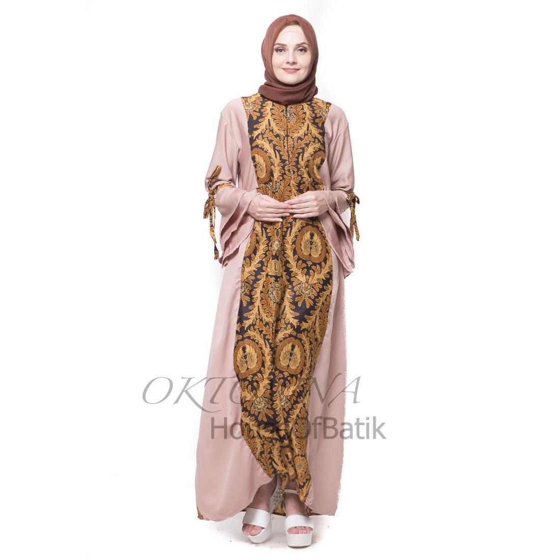 Oktovina-HouseOfBatik Gamis Batik Sogan Katun-Balotelli Klasik Srikaton - Sogan Batik GBSKB-5 - Cokelat Mocca / Gamis Batik / Gamis Wanita / Batik Wanita / Baju Batik