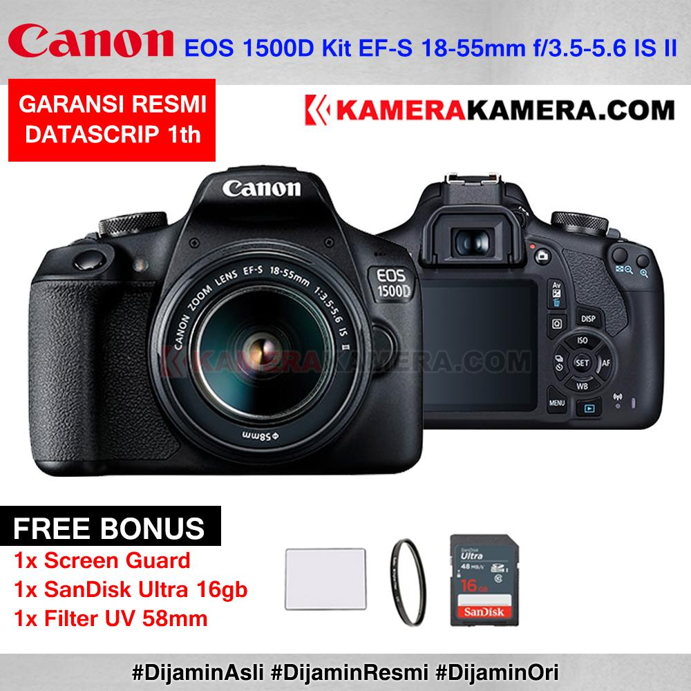 Canon EOS 1500D Kit EF-S 18-55mm IS II WiFi 24MP Resmi Datascrip + Screen Guard + Filter UV 58mm + SanDisk Ultra 16gb